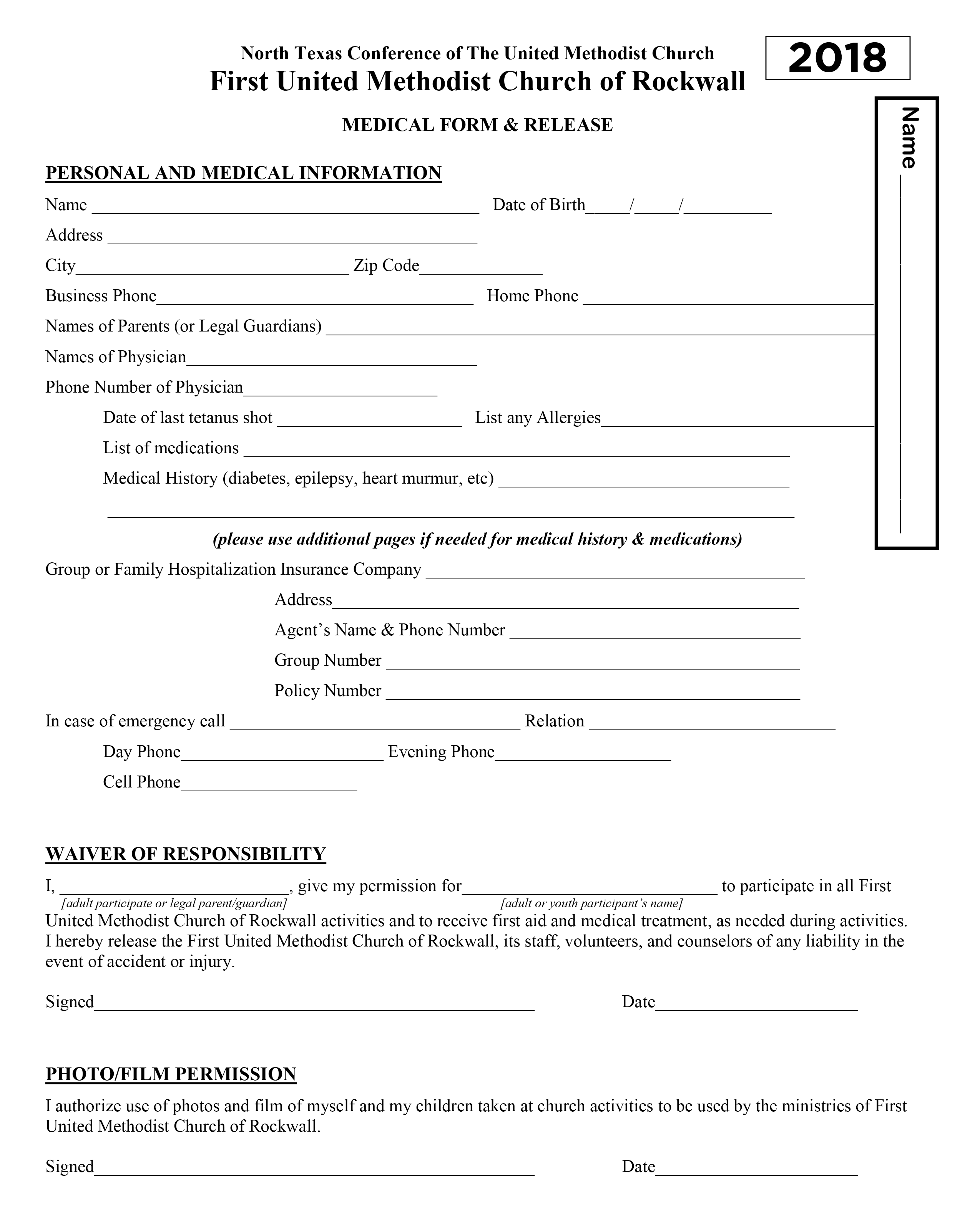 Youth Medical Release Form | First Rockwall